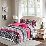 Comfort Spaces – Sally Comforter Set - 3 Piece – Hot Pink & Black – Zebra, Damask, Polka dot print – Twin/Twin XL Size, includes 1 Comforter, 1 Sham, 1 Decorative Pillow