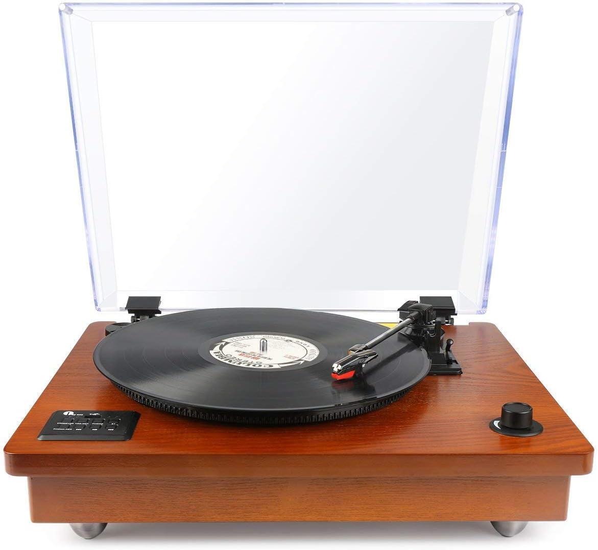 1 BY ONE Wireless Tocadiscos Estéreo Portátil con Altavoces Integrados, Compatible con Salida RCA, Puerto de Auriculares, MP3, la reproducción de música de teléfonos móviles,Madera Natural