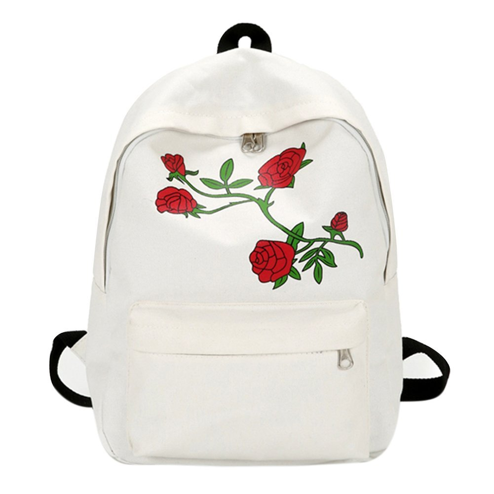Rose Embroidery Vintage Canvas Backpack