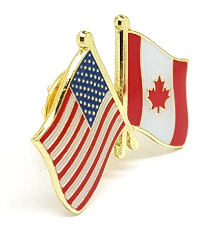 United States Of America CANADA Friendship Flag Pin Badge | USA American  And Flag Of CANADA