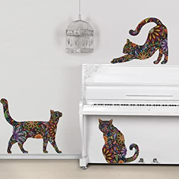 Ordinaire My Wonderful Walls Repositionable Cat Wall Decals In Flower Pattern, Small,  Set Of 3