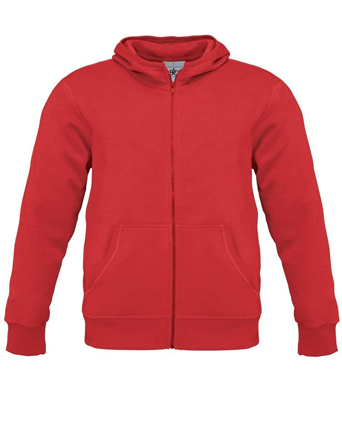 B&C Collection Monster Mens Zip Up Hoodie Hooded Sweatshirt Red 2XL
