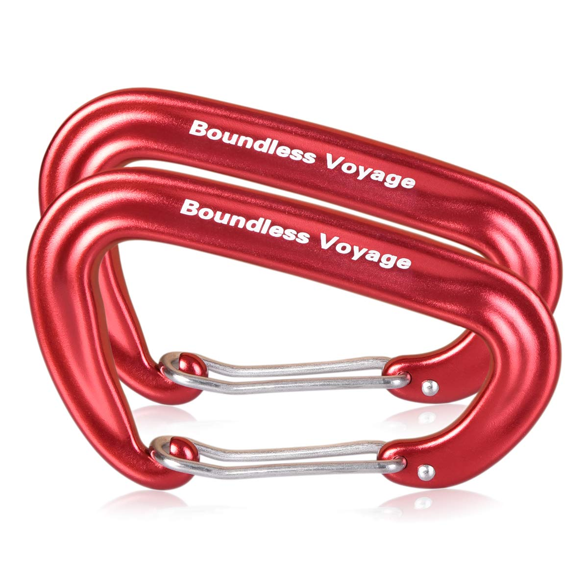 iBasingo 2-6 pack Aluminum Alloy Carabiner Clips Heavy Duty 12KN Strong Wiregate D-type Climbing Hook for Hammock