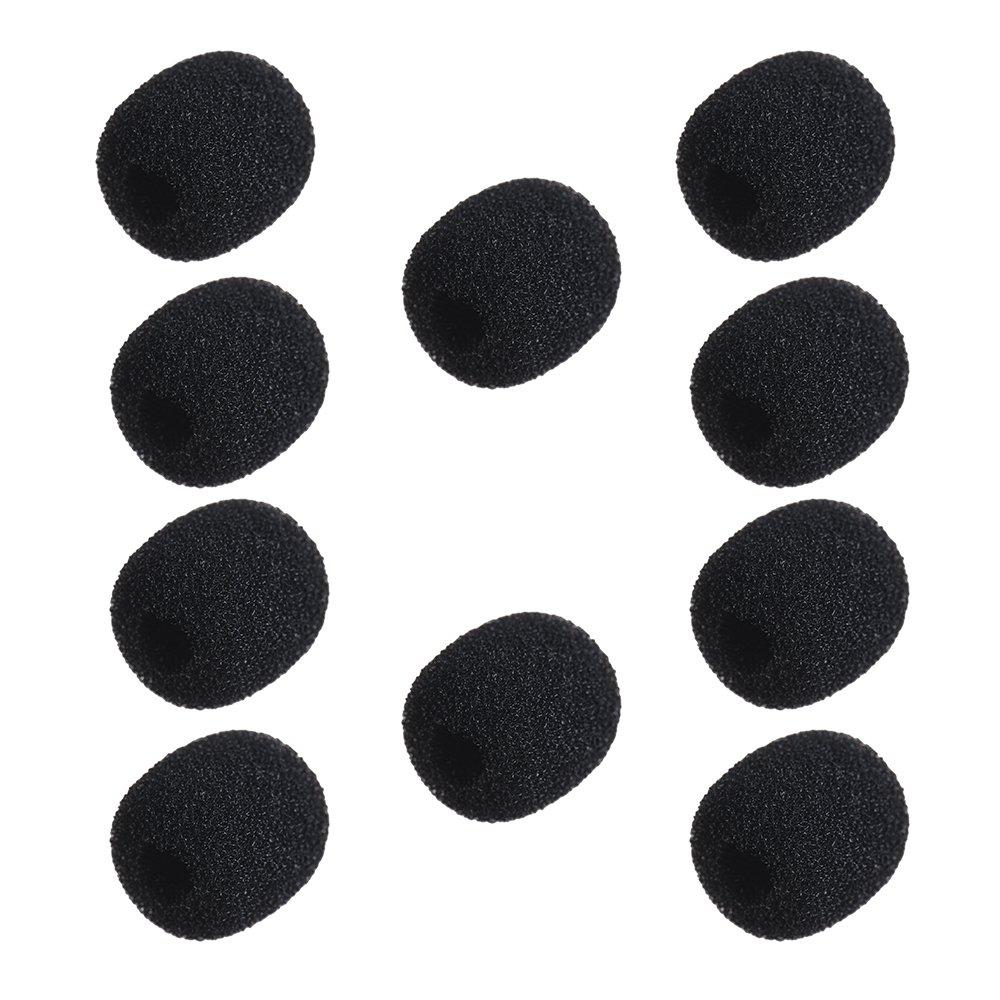 Andoer Mini Micr/ófono espuma Pantallas Antiviento de Micr/ófono Auriculares de Solapa Cubiertas de Micr/ófono de Espuma 10 Piezas Negro