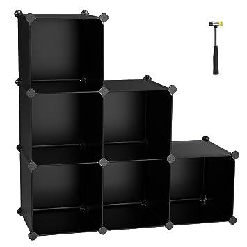 SONGMICS Cube Storage Organizer, 6 Cube Closet Storage Shelves, DIY Plastic  Closet Cabinet