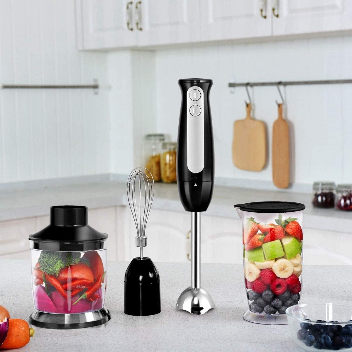 Electric Immersion Hand Blender Set 2 Speed 600 W 4 in 1