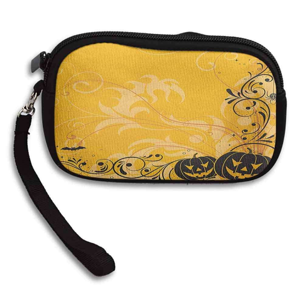 Halloween Small Wallets Carved Pumpkins with Floral Patterns Bats and Web Horror Jack o Lantern Artwork W 5.9x L 3.7 Coin Purse Zipper