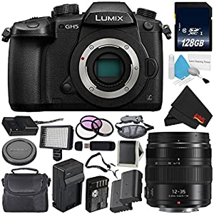 Panasonic Lumix DC-GH5 Mirrorless Micro Four Thirds Digital Camera (Body Only) + Panasonic Lumix G X Vario 12-35mm II Lens + 128GB Class 10 Memory Card Bundle