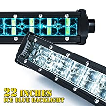 "Xprite C8 Aquatic Series 120W 22"" Double Row LED Spot Light Bar with Blue Backlight"
