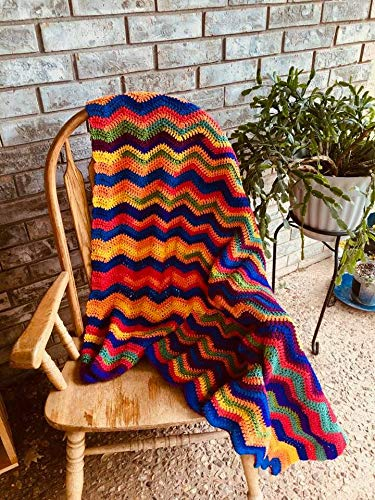 Crocheted Ripple Stitch Afghan Baby Blanket Lap Blanket with FREE Matching Mug! Mother's Day Baby Shower Birthday Christmas Gift - Afghan Mother