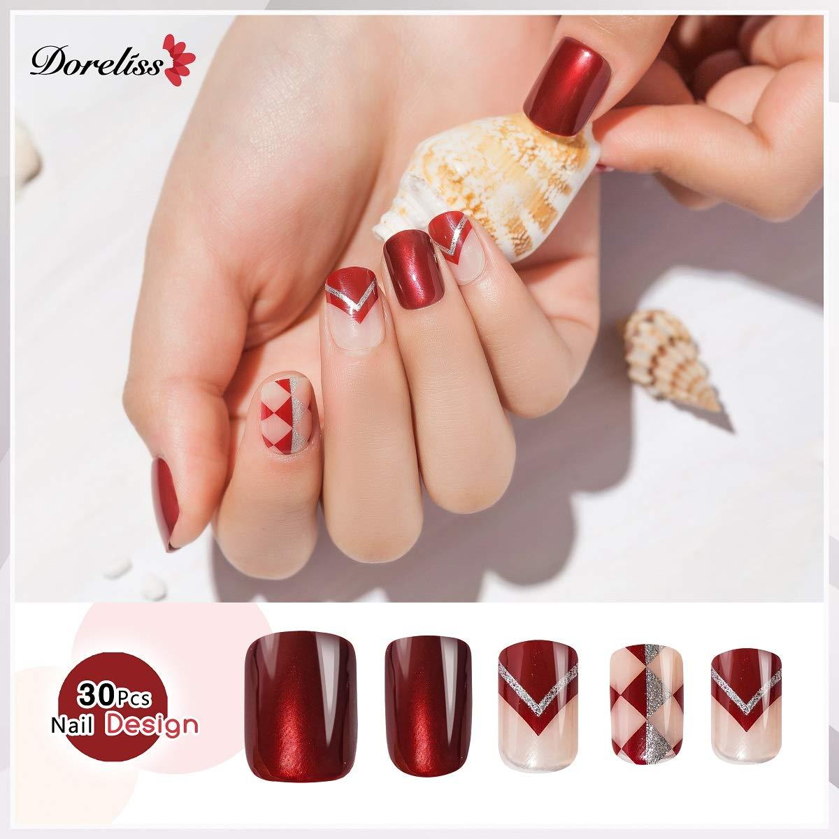 Doreliss uñas postizas 30 Pcs Consejos corto uñas falsas de Pegamento adhesivo de doble cara Glitter Rojo