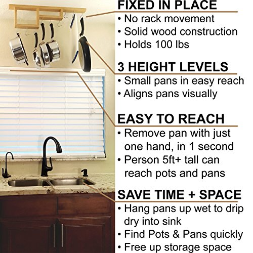 Pot Rack: Easy to Reach Ceiling Mount Solid-Wood Pan Hanger by HomeHarmony by HomeHarmony (Image #1)