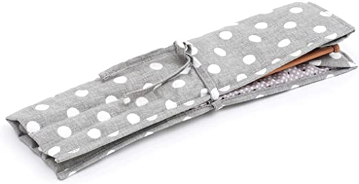 Estuche para agujas de tejer con relleno de lunares grises, de lino gris | Hobby Gift