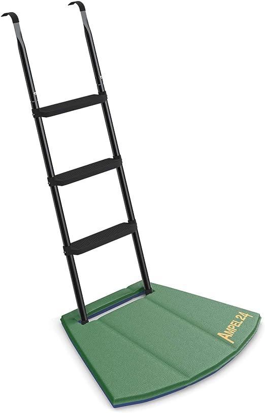 Ampel 24 - Escalera para Camas elásticas Grandes con Alfombrilla de Suelo/ Escalera ca 110 cm, 3 escalones Anchas, Negro: Amazon.es: Jardín