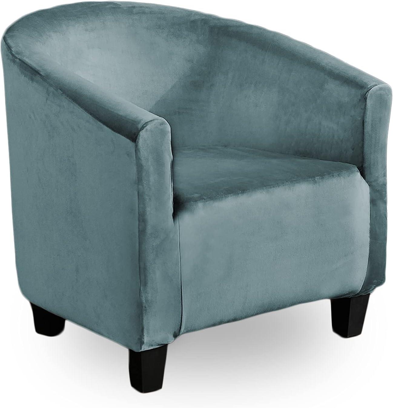 ZC MALL Velvet Club Chair Slipcover,High Stretch Fleece Tub Chair Slipcovers,Stylish Luxury Furniture Covers Velvet Plush Stretch Arm Chair Slipcover,Velvet-Stone Blue