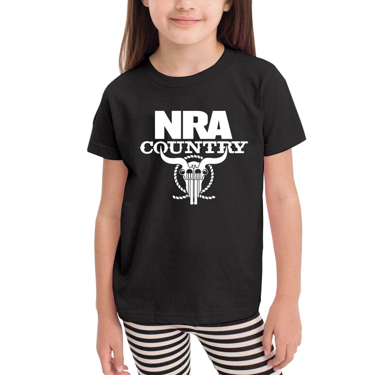 Kids T-Shirt Tops Black NRA Country Unisex Youths Short Sleeve T-Shirt