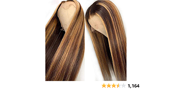 13x6 Straight Highlight 27 Colored Lace Front Wigs Human Hair PrePlucked Middle Part For Women Brazilian Lace Front Human Hair Wigs 150% Density. (16inch)