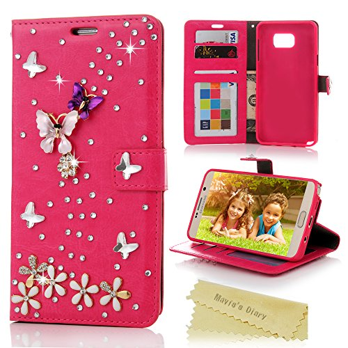 Note 5 Case,Galaxy Note 5 Case - Mavis's Diary 3D Handmade Wallet Bling Rhinestone Butterfly Lingers Over Flowers Design Red PU Leather Magnetic Clasp Flip Cover for Samsung Galaxy Note 5 (Verus Case Note 3 Card)