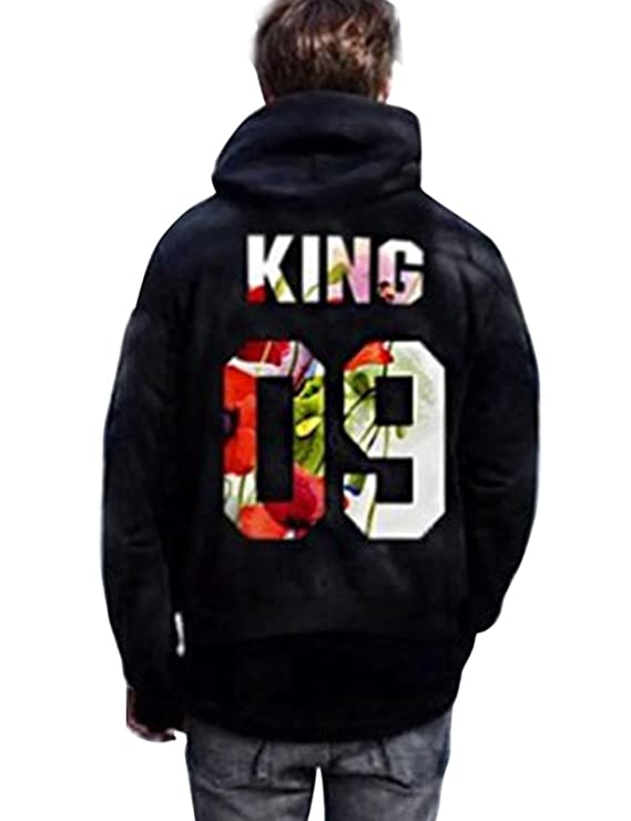 Corgy The King and His Queen Black Couple Pullover Sweater Long Sleeve Letter Printed Hoodie Fleece Tops at Amazon Mens Clothing store: