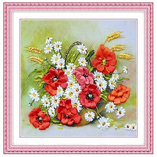48x48cm 3D Silk Ribbon Flower Cross Stitch Kit Embroidery DIY Handwork Home Decoration