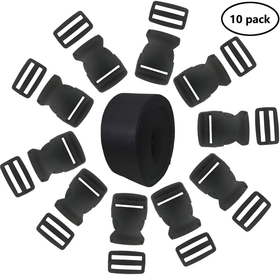 EnewLife 1.5 Inch Plastic Buckles Kit Include 10 Pack Side Release Plastic Buckles and 10 Pack Tri-Glide Slides with 5 Yards Black Nylon Webbing Strap 10 Pack 1.5 Inch