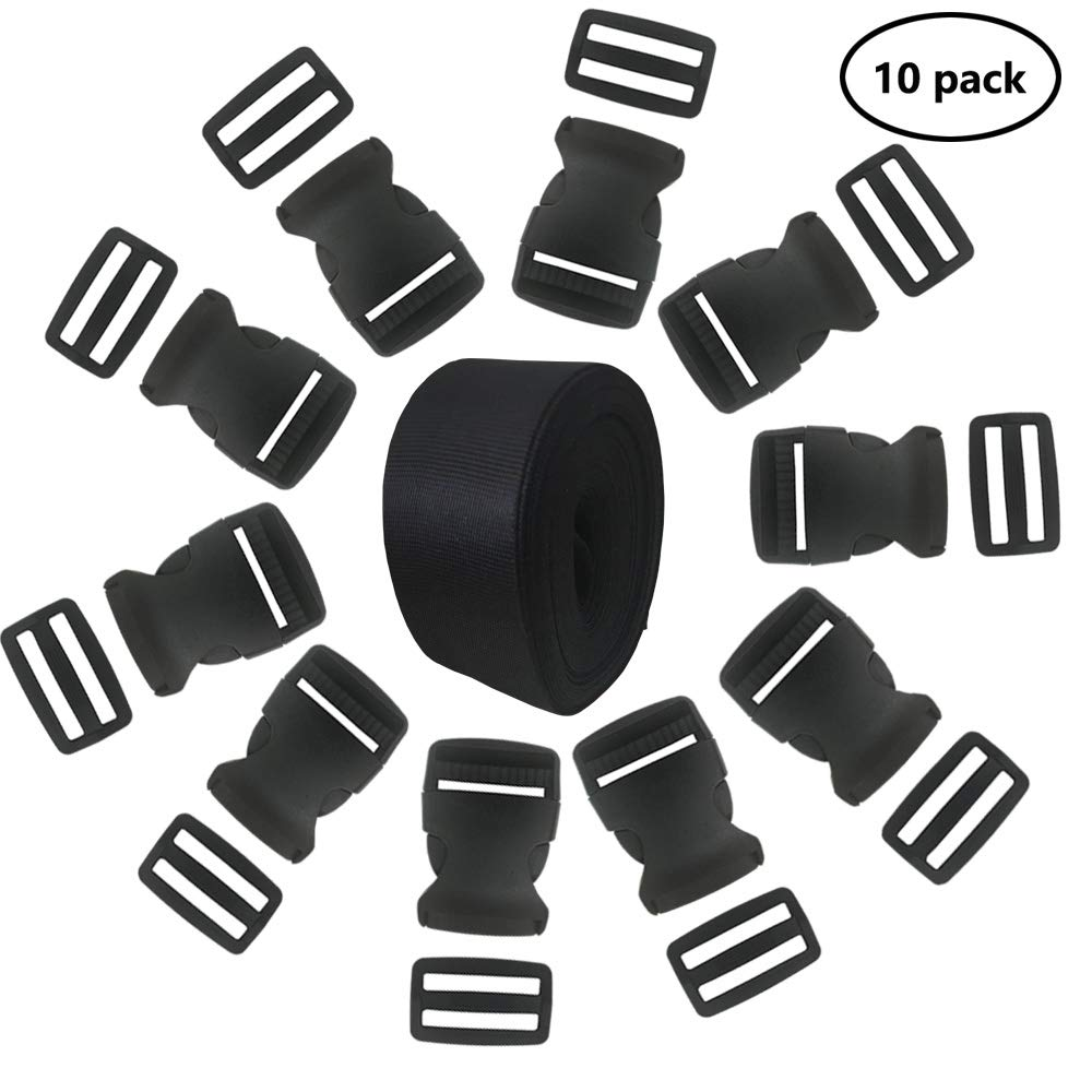 EnewLife 1 Inch Plastic Buckles Kit Include 15 Pack Side Release Plastic Buckles and 15 Pack Tri-Glide Slides with 5 Yards Black Nylon Webbing Strap(15 Pack 1 Inch)