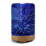 3D Glass Aromatherapy Essential Oil Diffuser, MUEQU 100ml Ultrasonic Cool Mist Air Humidifier with 16 Changing LED Colors for Home, Office, Baby Room, Living Room, Yoga, Spa (Cylinder Shape)
