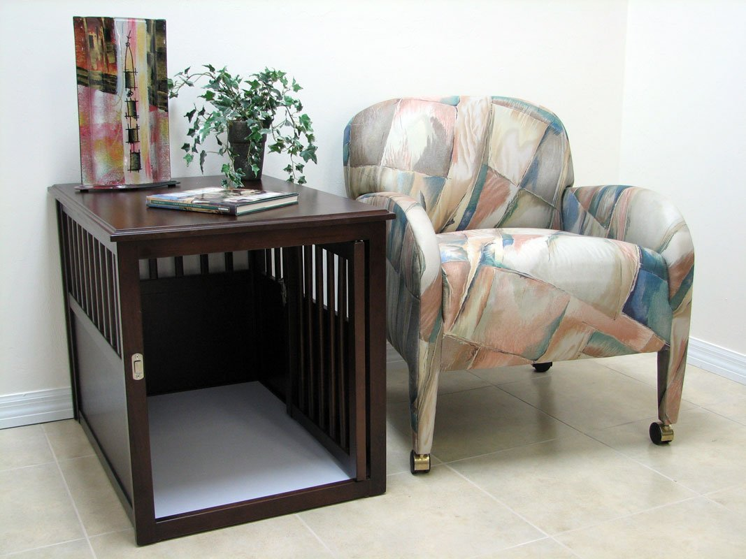 Crown Pet Products Pet Crate Wood Dog Crate Furniture End Table Medium Size with Espresso Finish