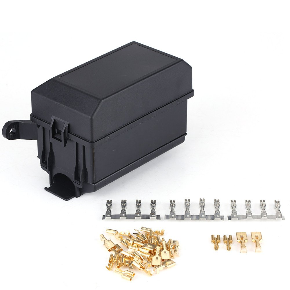 6 ATC/ATO Fuses Holder Block with 41pcs Metallic Pins, EBTOOLS 12-Slot Relay Box, 6-Way Blade Fuse Box for Automotive SUV Off-Road Pickup Truck and Marine Engine Bay