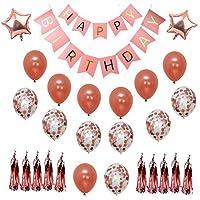 LELE Birthday Decorations - Party Decorations Happy Birthday Decorations Rose Gold confetti balloons