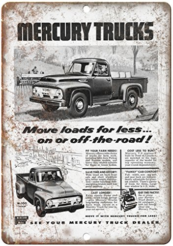 "Mercury Trucks M-100 Automobile Ad 10"" x 7"" Reproduction Metal Sign A310"