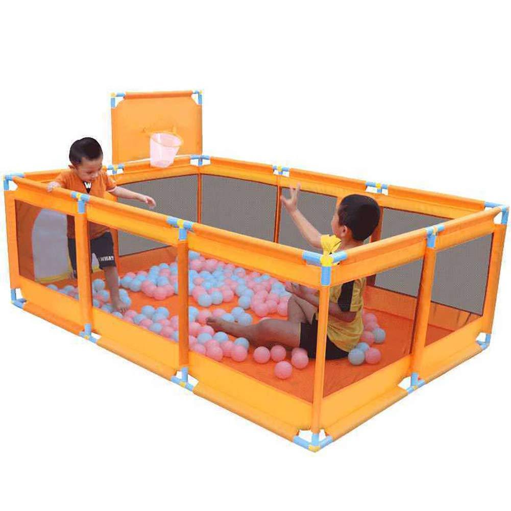 ルームディバイダFoldable子供の赤ちゃん屋内屋外の安全ゲームPlaypenフェンスポータブル子供の安全フェンス、プレイデン、190 * 128 * 66CM、オレンジ (色 : Playpen+200 balls+mat)  Playpen+200 balls+mat B07H3XCF6L