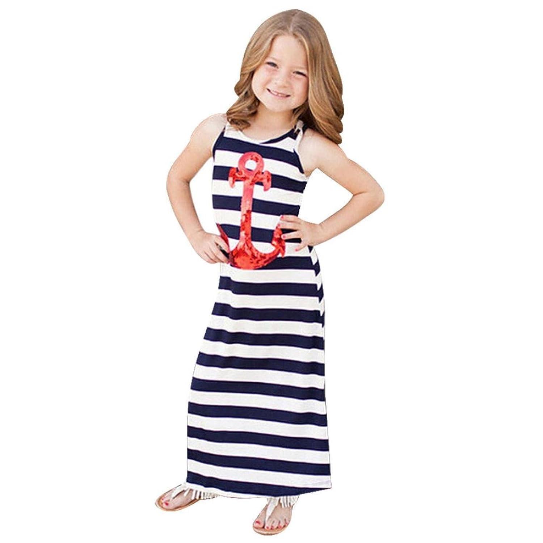 Internet Filles Enfants Stripe Ancres Paillette Robe Sans Manches