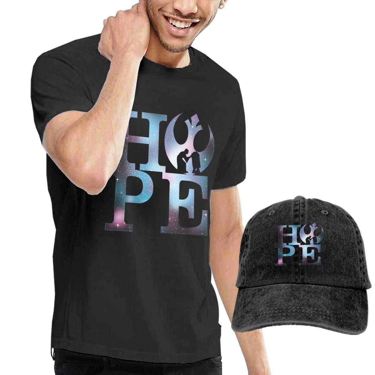 Yiooeea Mens Hope T Shirts and Washed Denim Baseball Dad Hat Black L