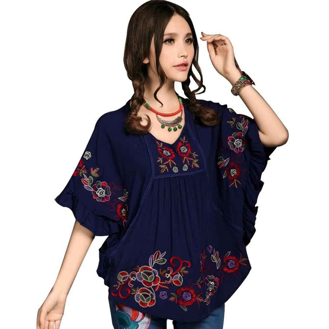 Kafeimali Women's Tops Batwing Floral Embroidered Loose Peasant Butterfly Mexican Blouse (Navy Blue)