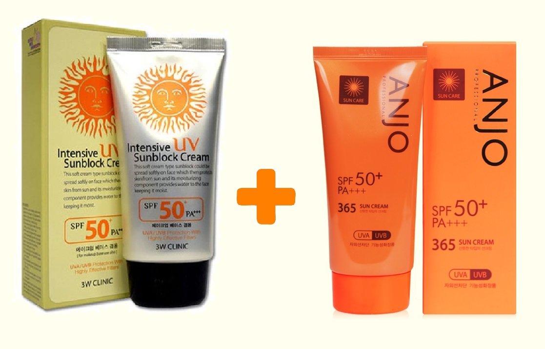 3W CLINIC Intensive UV Sunblock + Anjo Professional 365 Sun Cream