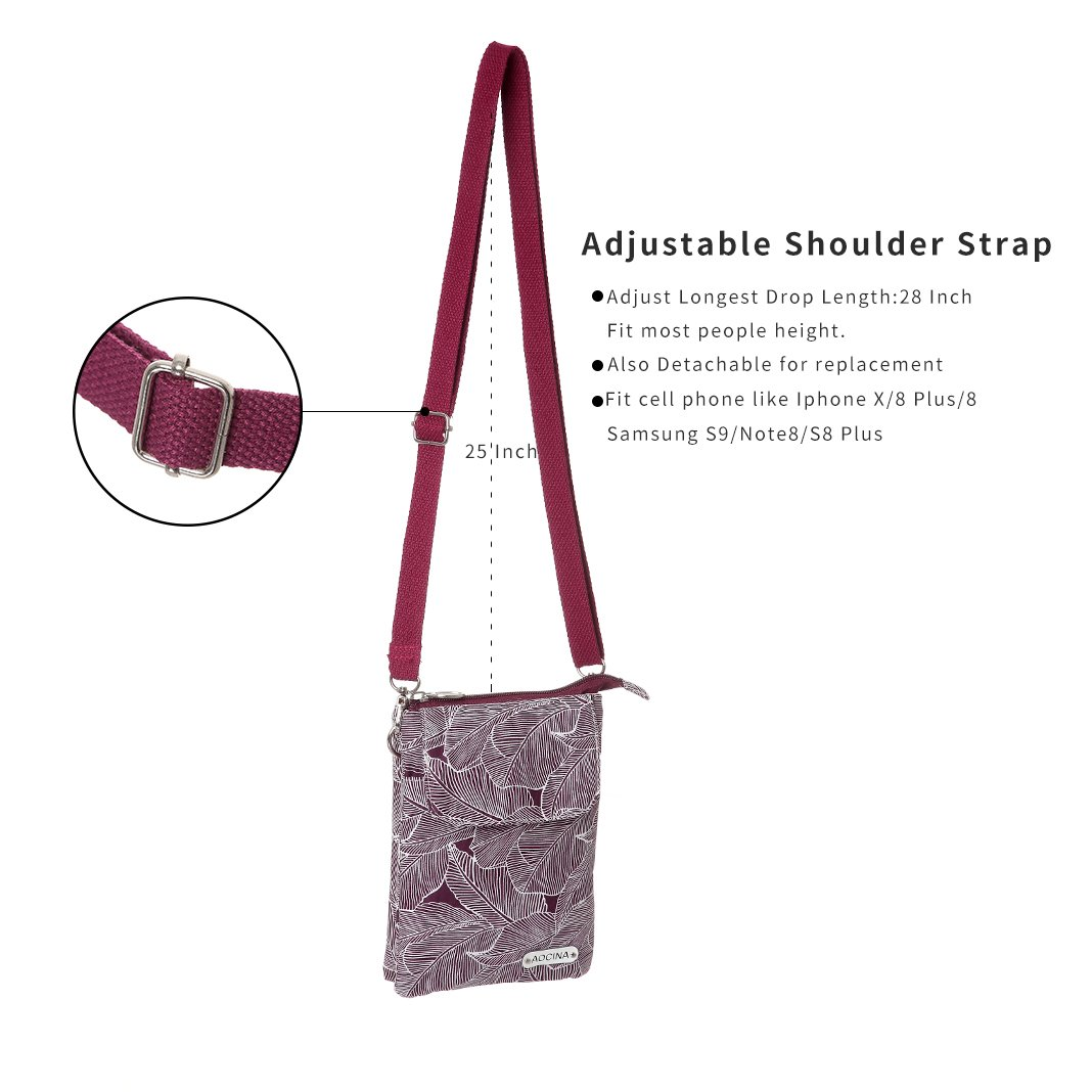 Cell Phone Purse Wallet Canvas Leaf Pattern Small Crossbody Purse Bags For Women(Red) by AOCINA (Image #4)