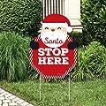 Big Dot of Happiness Jolly Santa Claus - Santa Stop Here Yard Sign - Christmas Welcome Yard Sign