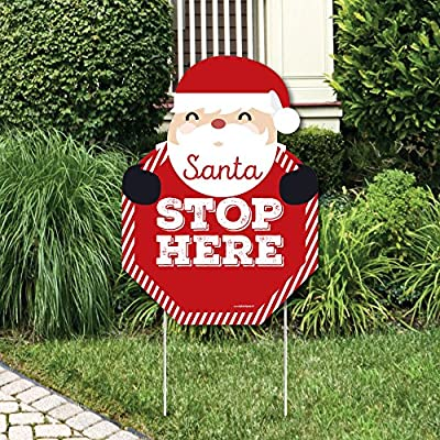 Big Dot of Happiness Jolly Santa Claus - Santa Stop Here Yard Sign - Christmas Welcome Yard Sign