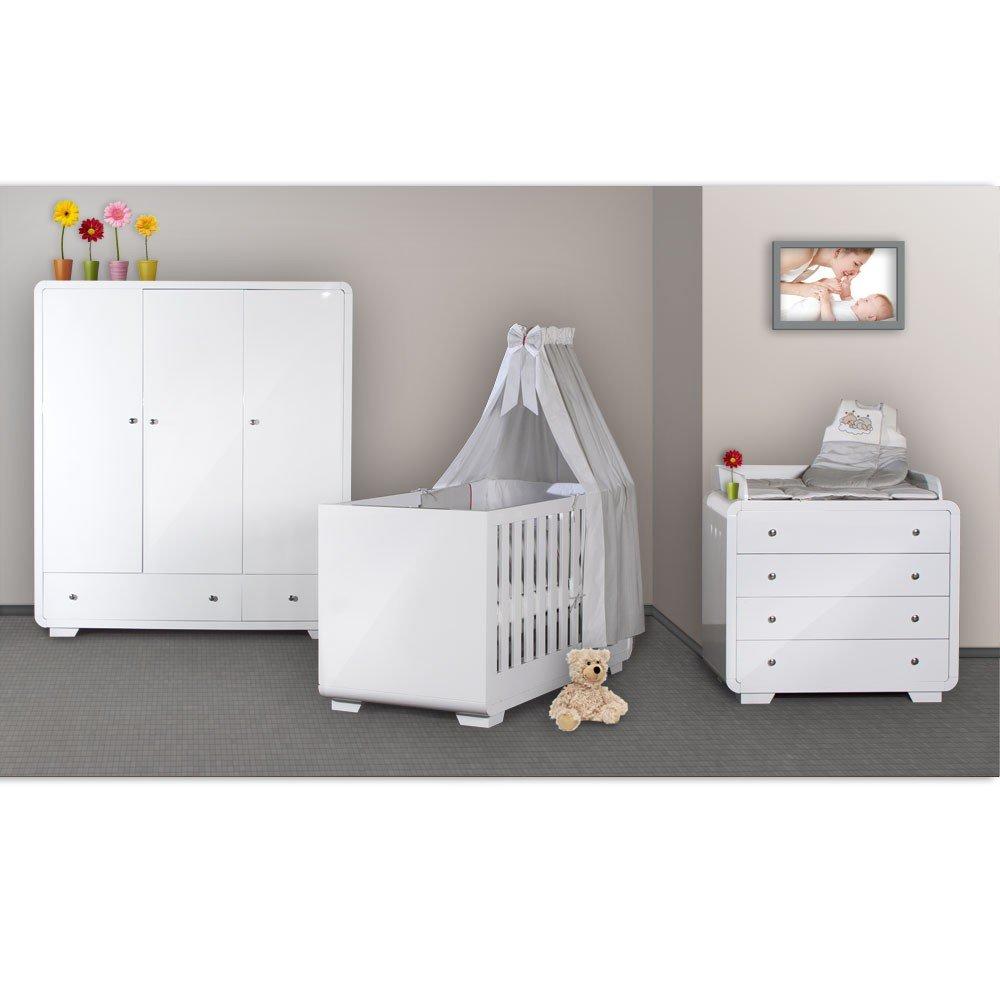 Hochglanz Kinderzimmer Yves mit 3 türigem Kleiderschrank + kl ...