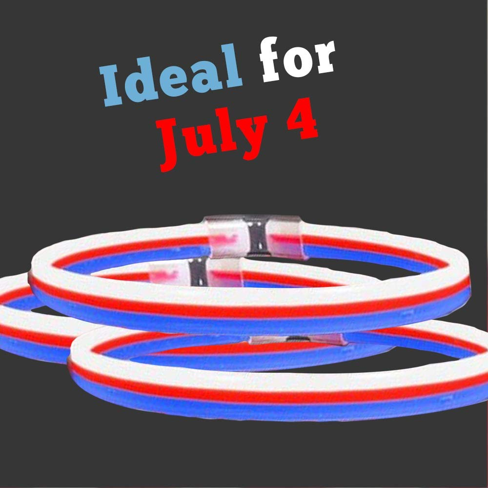 Lumistick 22'' Triple Wide Neon Glow Stick Necklaces   Kid Safe Non-Toxic Light Up Party Pack Glowstick   Perfect for 4th July Independence Day   Lasts up to 12 Hours - 25 Necklaces (Red White & Blue)