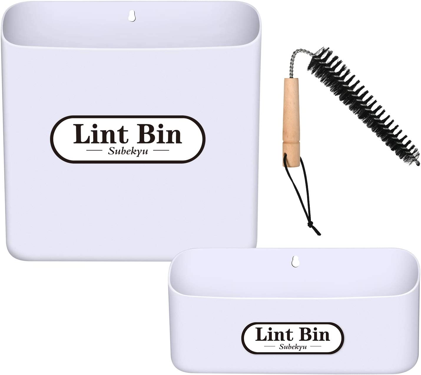 SUBEKYU Large Magnetic Hanging Lint Bins for Laundry Room Dryer/Wall, Space Saving Big/Small Lint Holder Bin Container with Lint Brush, Plastic, White