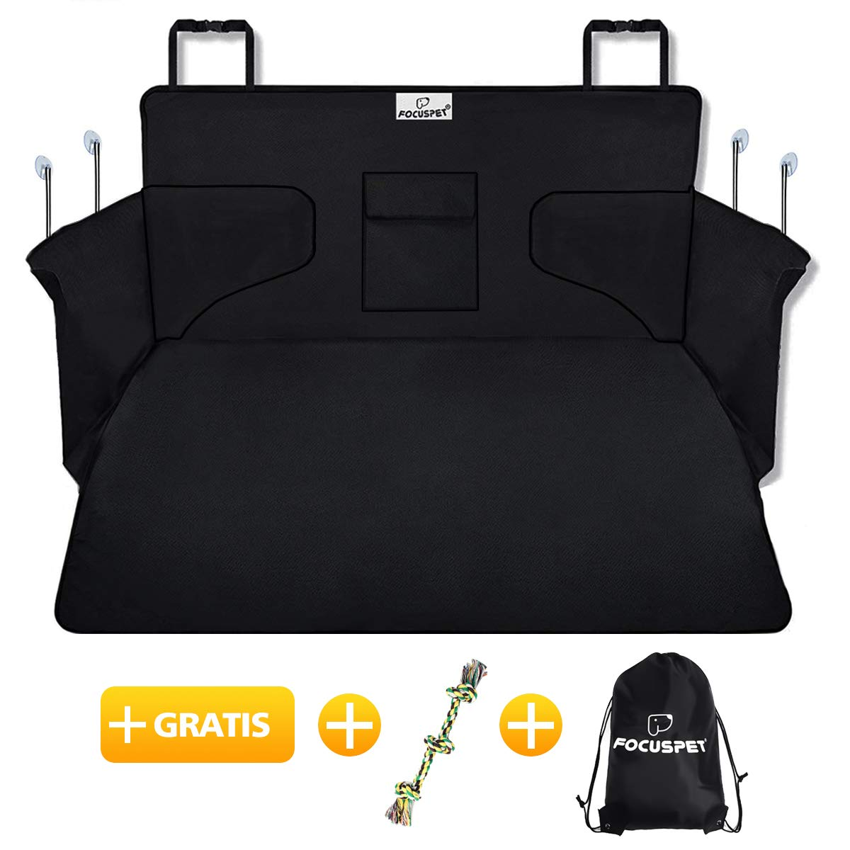 Car Boot Cover for Dogs, Focuspet Dog Cargo Liner Cover Pet Seat Cover Car Boot Predection Nonslip Waterproof Dirt Resistant Rear Seat with Side Predection 17510536 CM Universal for Car SUV Truck