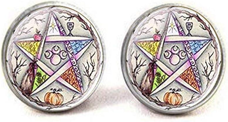 Witchcraft Stud Earrings Glass Pentagram Earrings Occult Jewelry