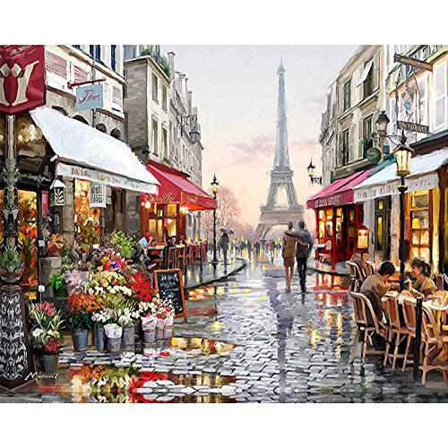 40x50cm Paris Street DIY Painting By Numbers Drawing Painting By Numbers Kits Paint On Canvas Unique For Home Wall Art Picture (Gold Collection Ballerina)