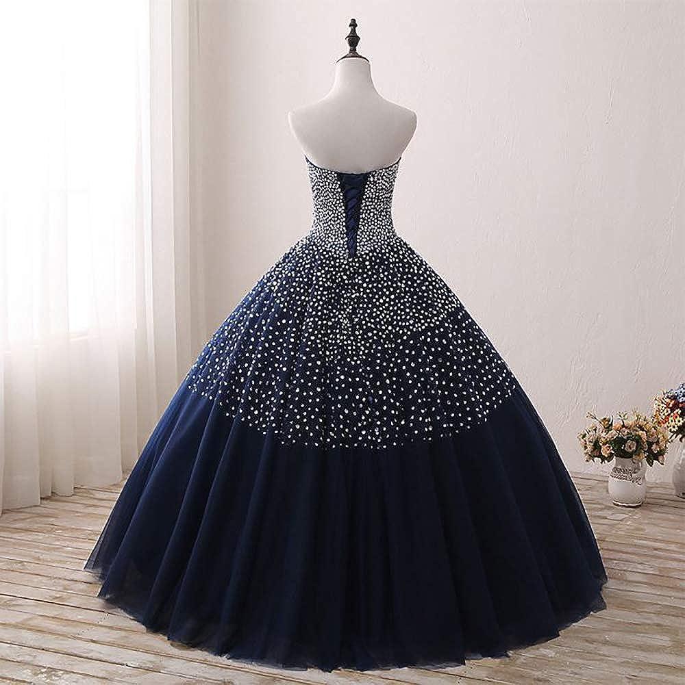 HUINI Robes de Bal Longues Princesse Robes de Quinceanera Robes de Soirée en Tulle Robes de Mariée Dos Nu Scintillantes Robes Formelles Élégantes Rose