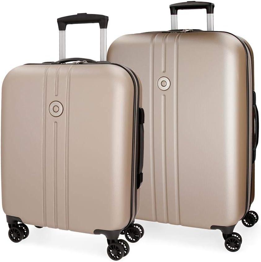 Movom Riga Juego de maletas Beige 55/70 cms Rígida ABS Cierre TSA 108L 4 Ruedas Dobles Equipaje de Mano