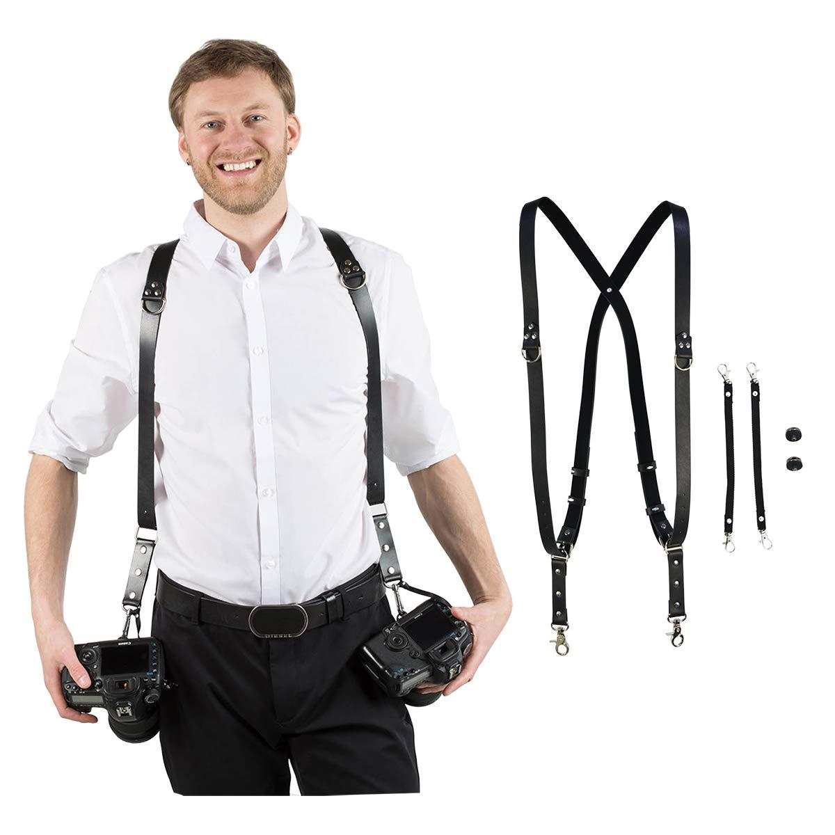 Homelex Adjustable Dual Shoulder Multi Camera Leather Harness Strap Sling Accessories