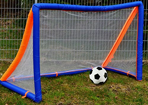 Aufblasbares Fussball Set 2m x 1,3m Ball Pumpe Tor Garten Fußballtor Kinder
