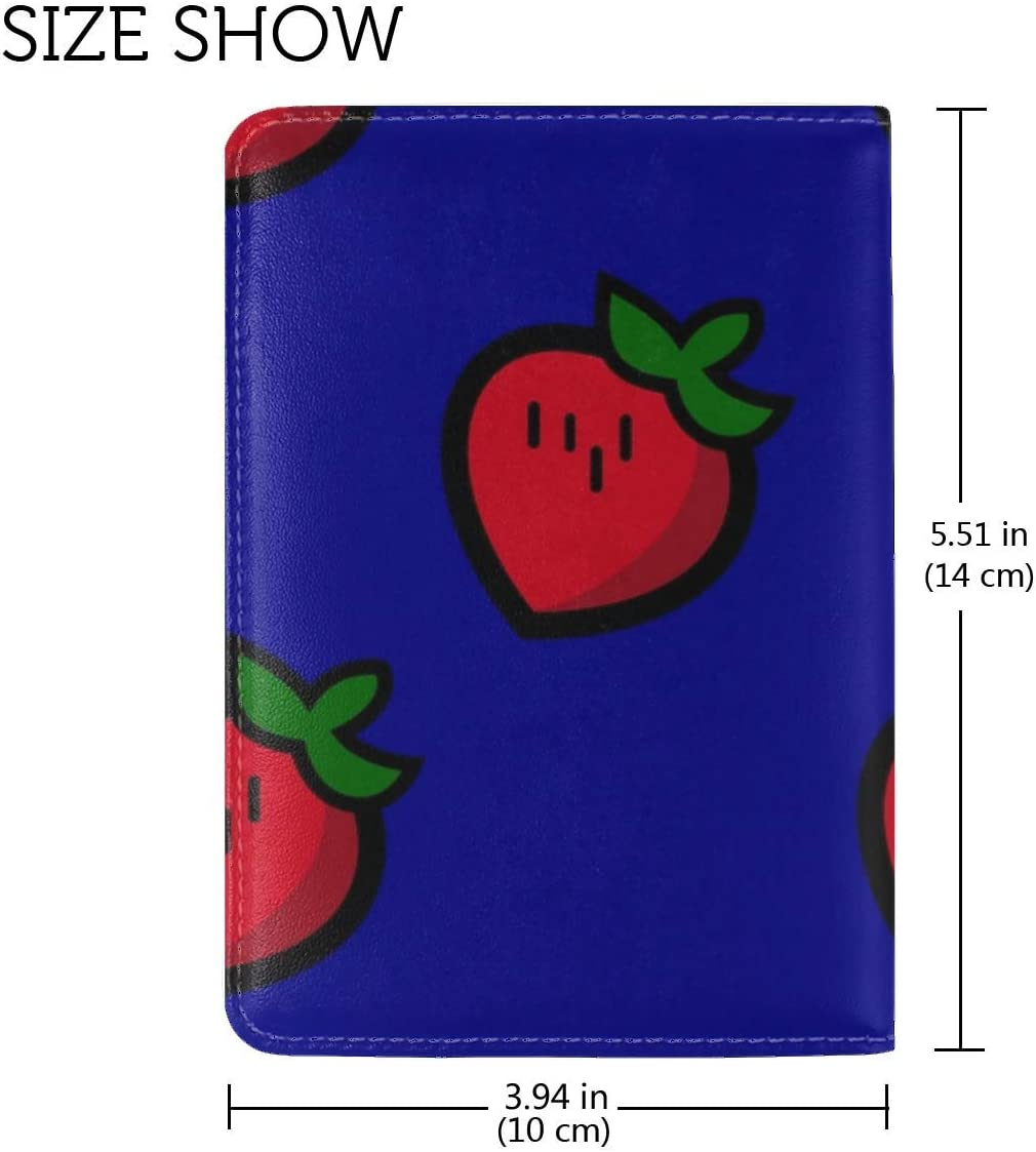 JiaoL Strawberry Patterns Texture Leather Passport Holder Cover Case Travel One Pocket